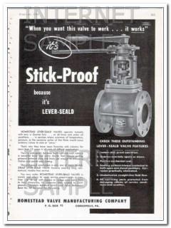 homestead valve mfg company 1948 stick-proof oil vintage ad