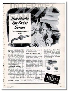 bristol company 1948 ease maintenance job hex socket screws vintage ad