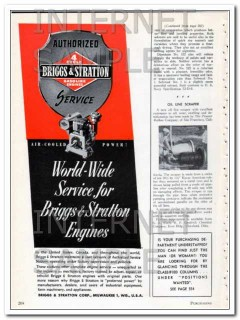 briggs and stratton corp 1948 worldwide service for engines vintage ad