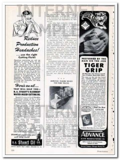 advance glove mfg company 1948 preferred tiger grip vintage ad