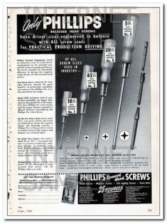 phillips screw manufacturers 1948 recessed head balance vintage ad