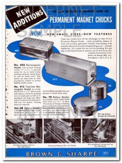brown and sharpe mfg company 1948 permanent magnet chucks vintage ad