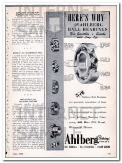 ahlberg bearing company 1948 run smoothly quietly long life vintage ad