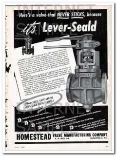homestead valve mfg company 1948 never sticks lever-seald vintage ad