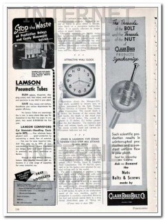 lamson corp 1948 ibm stop the waste pneumatic tube conveyor vintage ad