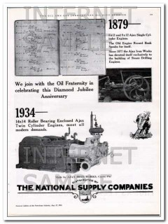 Ajax Iron Works 1934 Vintage Ad Oil Drilling Engine National Supply Co