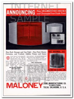Maloney Tank Mfg Company 1934 Vintage Ad Oil Storage Segmented Decks