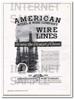 American Steel Wire Company 1934 Vintage Ad Oilfield Tiger Wire Lines
