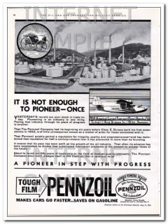 Pennzoil Company 1934 Vintage Ad Oil Pioneer Once Step Progress
