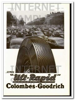 colombes-goodrich 1938 traffic le pneu ult-rapid car tire vintage ad