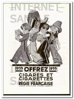 cigarettes de la regie francaise 1933 french gift tobacco vintage ad
