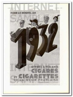 cigares et cigarettes 1931 new year french control cigar vintage ad