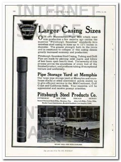 pittsburgh steel products company 1927 larger casing sizes vintage ad