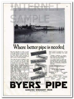 a m byers company 1927 where better pipe is needed vintage ad