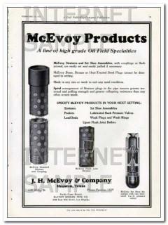 J H McEvoy Company 1927 Vintage Ad Oil Field Specialties High Grade