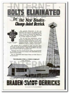 braden steel winch co 1927 bolts eliminated clamp derrick vintage ad