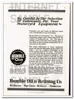 Humble Oil Refining Company 1927 Vintage Ad Lubricants Careful Select