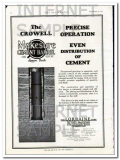 Lorraine Corp 1927 Vintage Ad Oil Field Crowell Cement Distribution