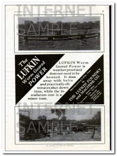 Lufkin Foundry Machine Company 1927 Vintage Ad Oil Worm Geared Power