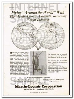 Martin-Loomis Corp 1927 Vintage Ad Oil Record Weight Indicator World