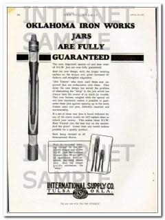 International Supply Company 1927 Vintage Ad Oklahoma Iron Works Jars