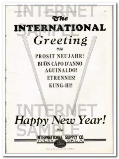 International Supply Company 1927 Vintage Ad Happy New Year Greeting