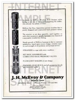 J H McEvoy Company 1927 Vintage Ad Oil Well Strainer Set Shoe Assembly