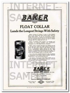 Baker Casing Shoe Company 1927 Vintage Ad Float Collar Longest Strings