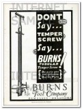 Burns Tool Company 1927 Vintage Ad Oil Field Tubular Temper Screw