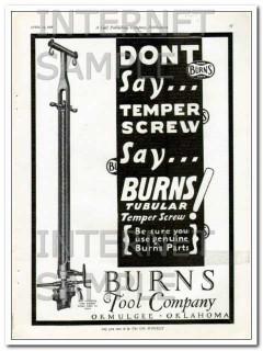 Burns Tool Company 1927 Vintage Ad Oil Field Tubular Temper Screw
