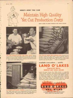 Land O Lakes 1951 Vintage Ad Nonfat Dry Milks Maintain High Quality