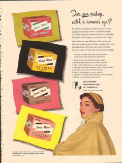 Container Corp America 1951 Vintage Ad Ice Cream Package Womans Eye