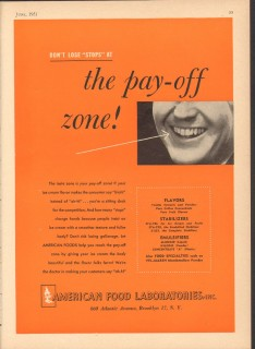 American Food Laboratories Inc 1951 Vintage Ad Ice Cream Pay Off Zone