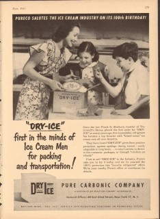 Pure Carbonic Company 1951 Vintage Ad Dry Ice Packing Transport Pureco
