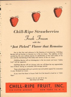 Chill-Ripe Fruit Inc 1951 Vintage Ad Ice Cream Strawberries Frozen