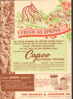 Charles A Peterson Company 1951 Vintage Ad Ice Cream Buttered Pecans