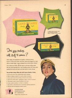 Container Corp America 1951 Vintage Ad Ice Cream Package Land O Lakes