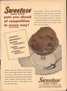 A E Staley Mfg Company 1951 Vintage Ad Ice Cream Corn Syrup Sweetose