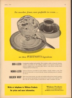 Borden Company 1951 Vintage Ad Ice Cream Stabilizers Whitson Products