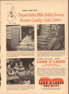 Land O Lakes 1951 Vintage Ad Ice Cream Milk Solids Source Dependable