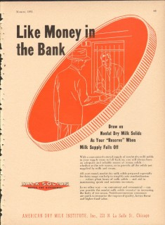 American Dry Milk Institute Inc 1951 Vintage Ad Ice Cream Money Bank