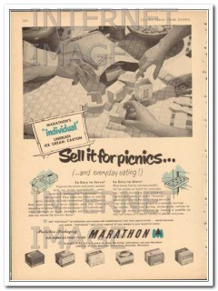 Marathon Corp 1951 Vintage Ad Ice Cream Carton Sell It For Picnics
