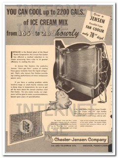 Chester-Jensen Company 1951 Vintage Ad Ice Cream Mix Cool Hourly