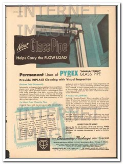 creamery package mfg company 1951 pyrex glass pipe vintage ad