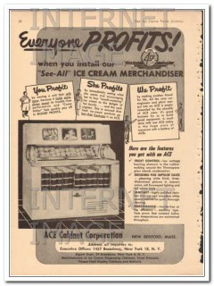 Ace Cabinet Corp 1951 Vintage Ad Ice Cream Merchandiser Cabinet Profit