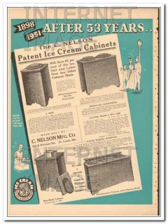 C Nelson Mfg Company 1951 Vintage Ad Ice Cream Cabinets Patent