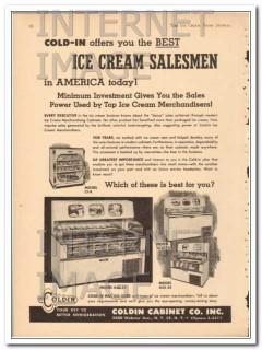 Coldin Cabinet Company 1951 Vintage Ad Ice Cream Freezer Salesmen