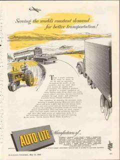 auto-lite 1953 worlds constant demand better transportation vintage ad