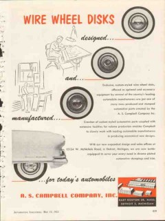 a s campbell company 1953 design and mfg wire wheel disks vintage ad