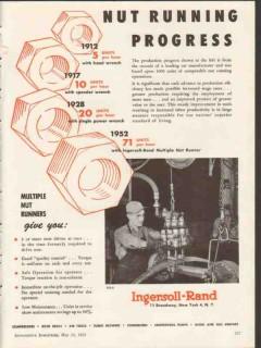 ingersoll-rand 1953 multiple nut running progress value vintage ad